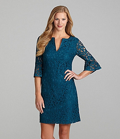 Adrianna Papell Lace Bell-Sleeve Dress