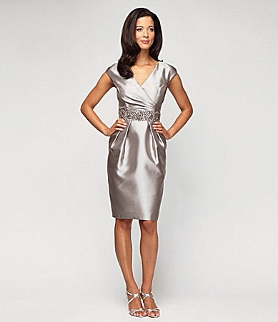 Alex Evenings Satin Taffeta Dress