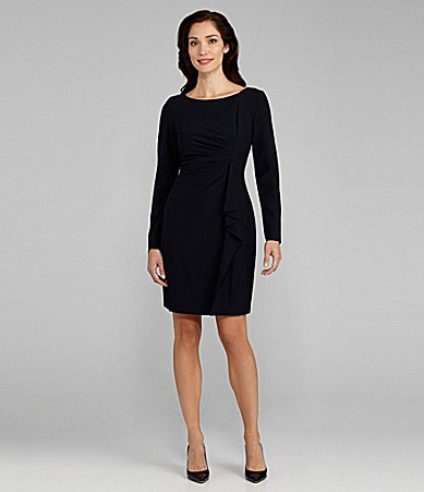 Jessica Howard Long-Sleeve Cascading Ruffle Dress