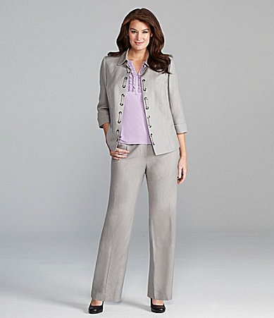 Alex Marie Woman Maryellen Linen Jacket, Meghan Knit Top, & Paige Linen Pant