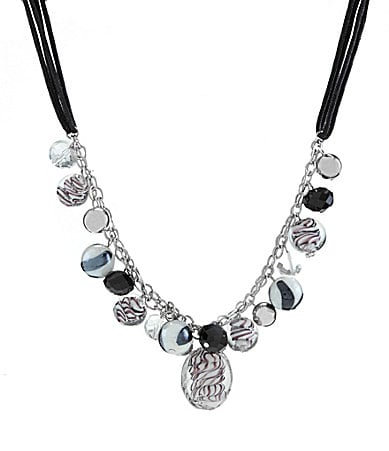 Erica Lyons Black Glass Frontal Necklace