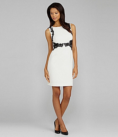 Tahari Lace-Trim Crepe Dress