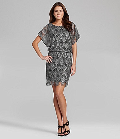 S.L. Fashions Crochet Fringe-Hem Dress