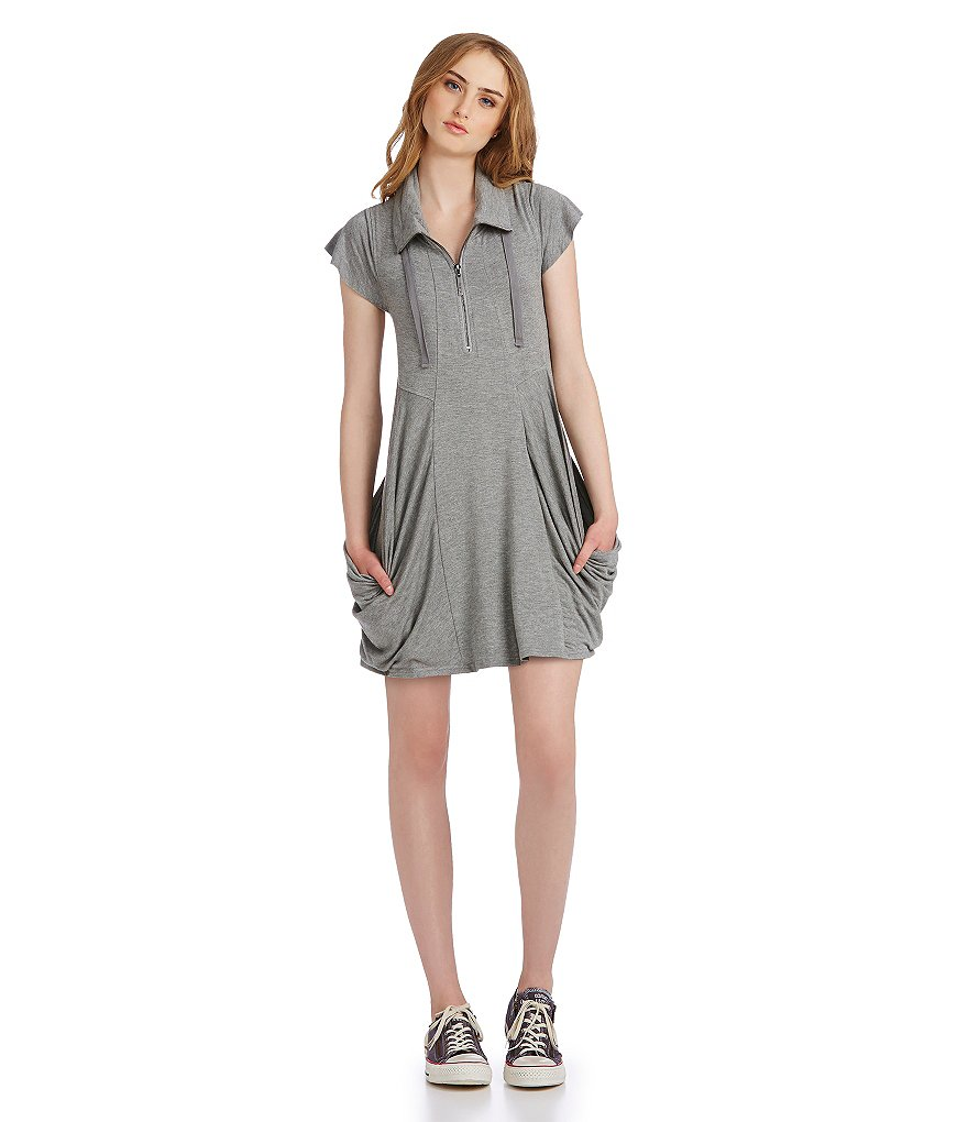 kensie French Terry Drape Pocket Shirt Dress