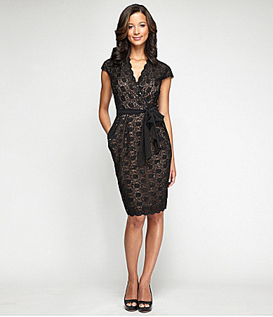 Alex Evenings Lace Surplice Dress