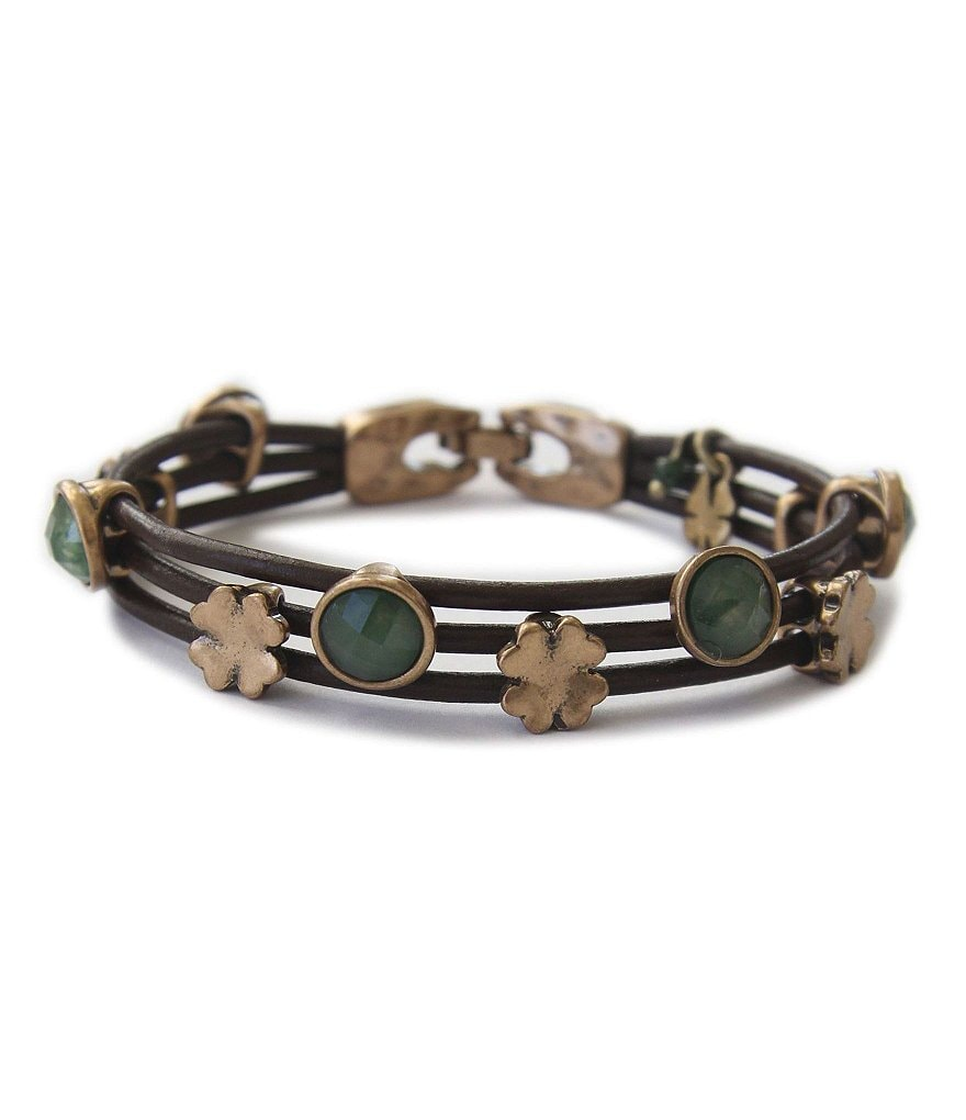 Lucky Brand Clover Leather Bracelet