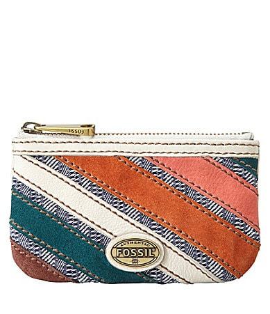 Fossil Explorer Patchwork Double-Zip Coin Pouch