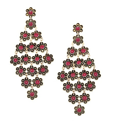 Jessica Simpson Earthy Treasures Floral Chandelier Earrings