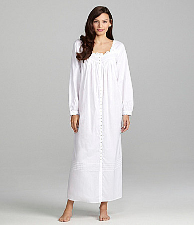 Eileen West Ode to the Sea Long Sleeve Ballet Button-Front Nightgown