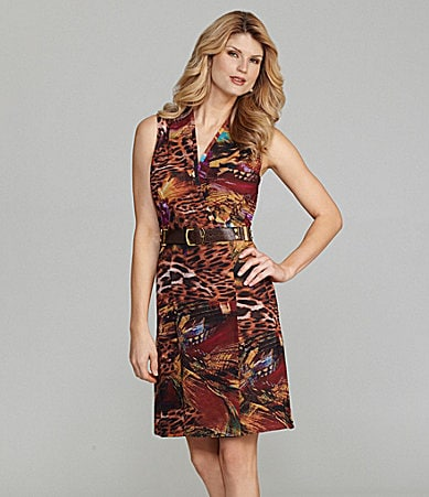 Antonio Melani Inez Sleeveless Feather/Animal Print Dress