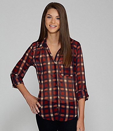 Eyeshadow Plaid Chiffon Top