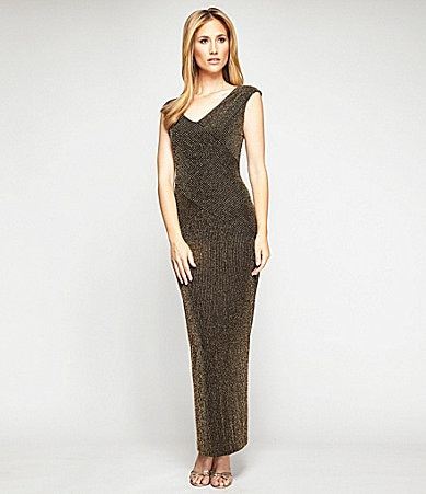 Alex Evenings Long-Ribbed Metallic Column Dress