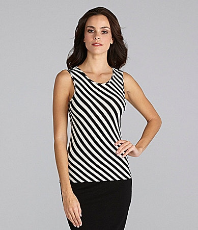 Vince Camuto Drape-Back Striped Top