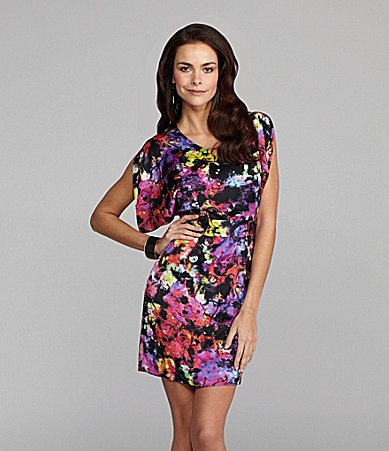 Vince Camuto Galaxy-Print Self-Tie Dress
