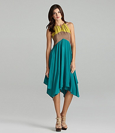 Vince Camuto Colorblock Halter Dress