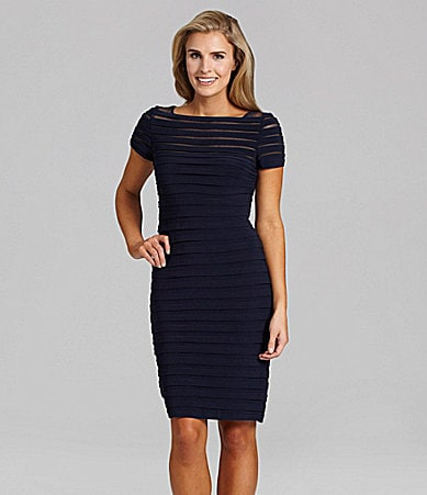 Adrianna Papell Short-Sleeve Pintuck Dress