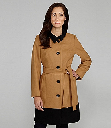 Anne Klein Colorblock Belted Coat
