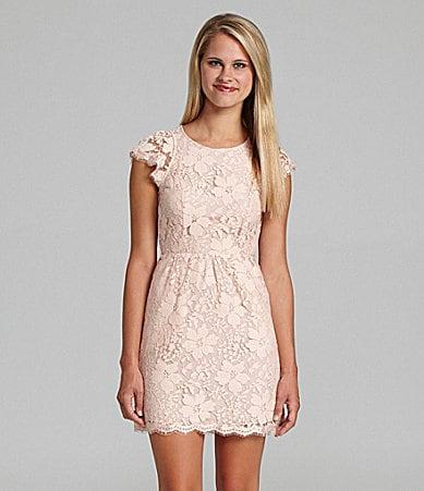 BCBGeneration Open Back Floral Lace Dress
