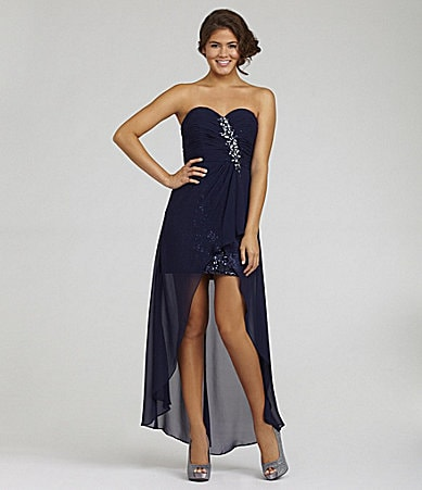 B. Darlin Strapless Hi-Low Dress