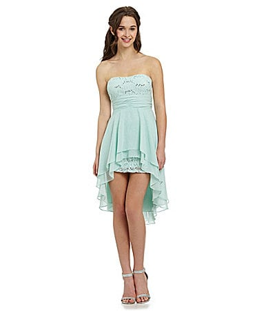 Hailey Logan Strapless Ruffled Hi-Low Dress