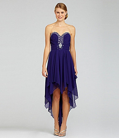 B. Darlin Strapless Shirred Hi-Low Dress