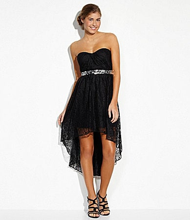 Strapless Black Dress on Hailey Logan Strapless Lace Hi Low Dress   Dillards Com