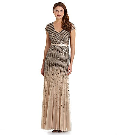 Adrianna Papell Petites Beaded Gown