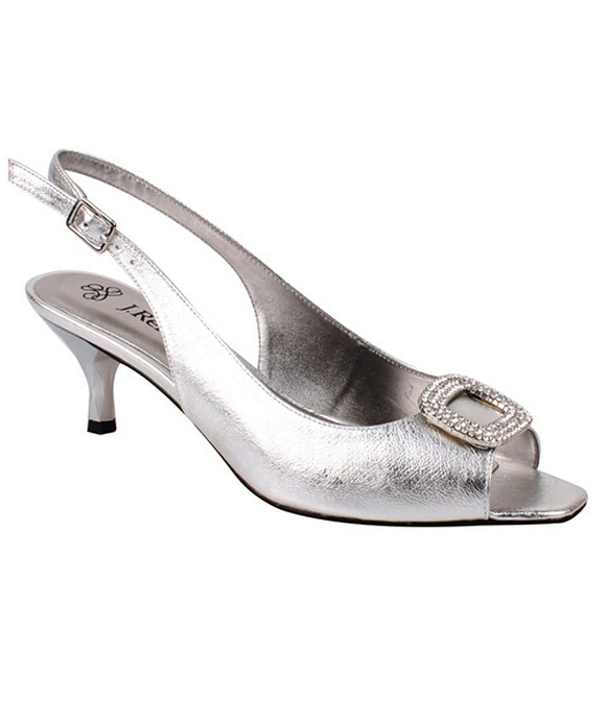 J. Renee Classic Jeweled Slingback Peep-Toe Kitten Pumps