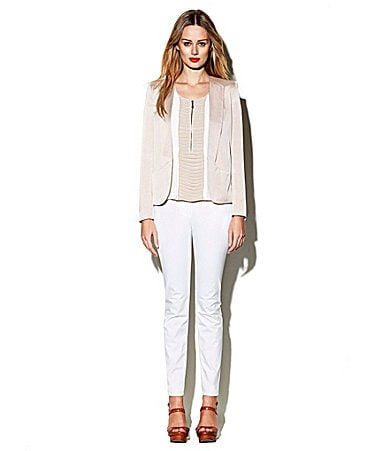 Vince Camuto Soft Open-Front Blazer, Pleated Zip-Placket Blouse, & Signature Colored Skinny Jeans