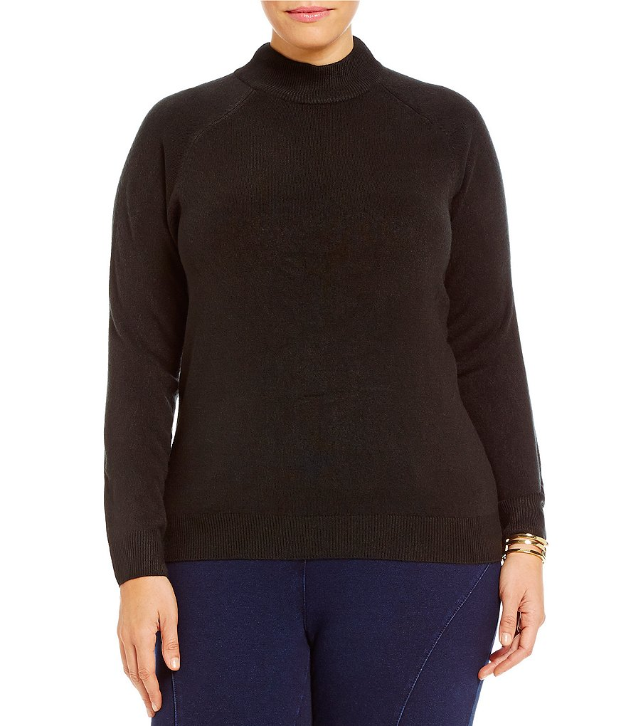 Nouveaux Plus Zip Back Mock Neck Sweater