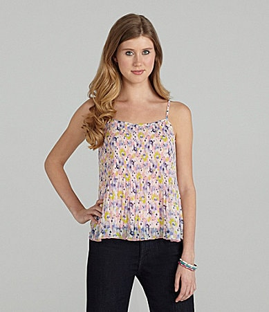 Catch My i Printed Pintuck Camisole