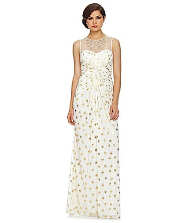 Adrianna Papell Foil-Dot Illusion Gown
