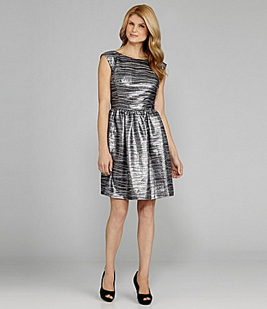 Antonio Melani Dibet Metallic Jacquard Dress