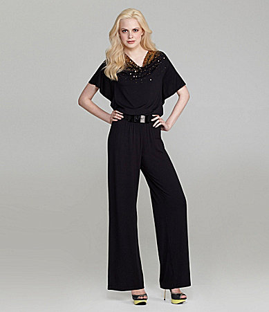 Grace Elements Sequin Cowlneck Jumpsuit