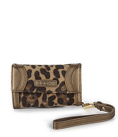 Bodhi Cheetah Print Suede iPhone Wristlet Wallet