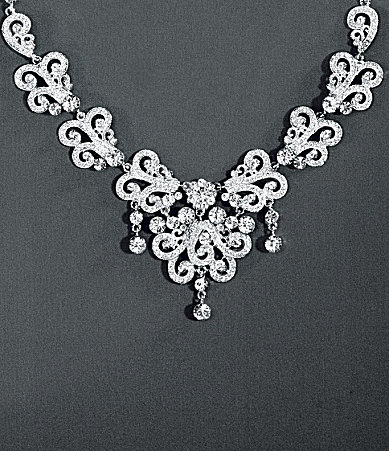 Natasha Accessories Victoria Crystal Scroll Statement Necklace