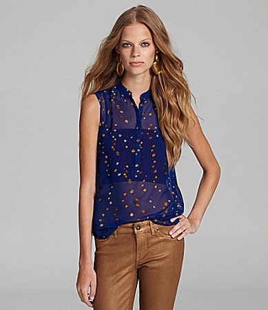 Kensie Painted Dots Blouse