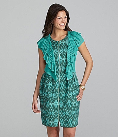Alex Marie Petites Mary Knit Cardigan & Ruth Ikat Jacquard Dress