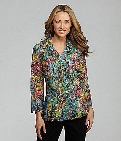 Multiples Abstract-Print Burnout Blouse