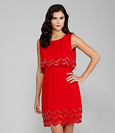 Gianni Bini Minka Bead-Trim Dress