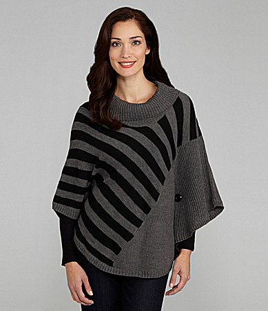 I.N. Studio Striped Sweater Poncho