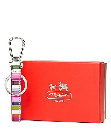 COACH LEGACY STRIPE LOOP KEY RING