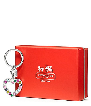 COACH LEGACY PAVE HEART KEY RING