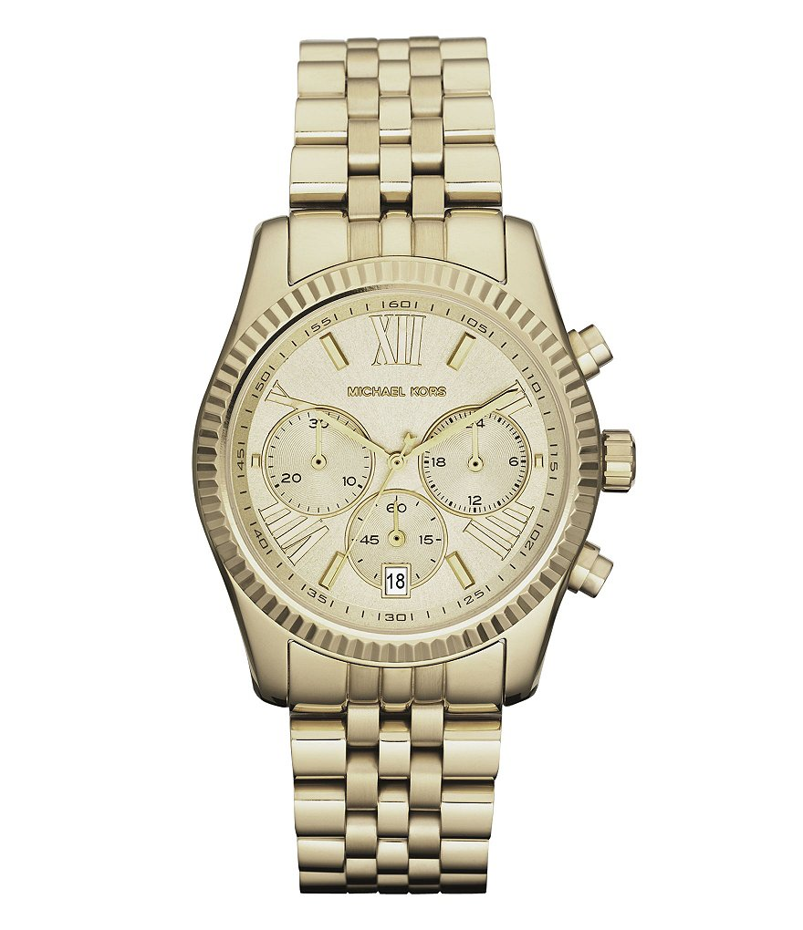 Michael Kors Ladies Lexington Round Goldtone Watch