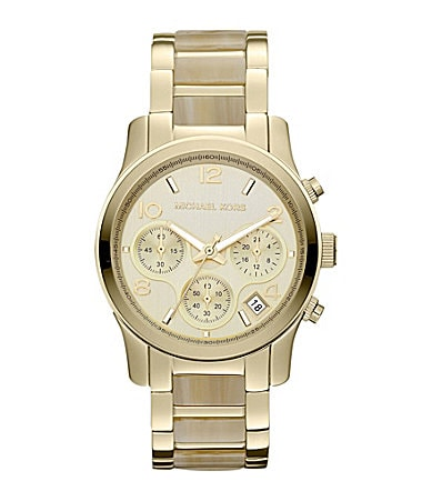 Michael Kors Ladies Runway Goldtone Horn Watch