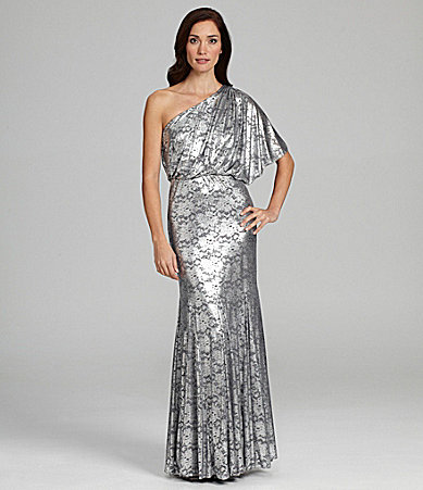 Adrianna Papell One-Shoulder Foil Gown