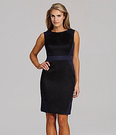 Adrianna Papell Jacquard Colorblock Dress