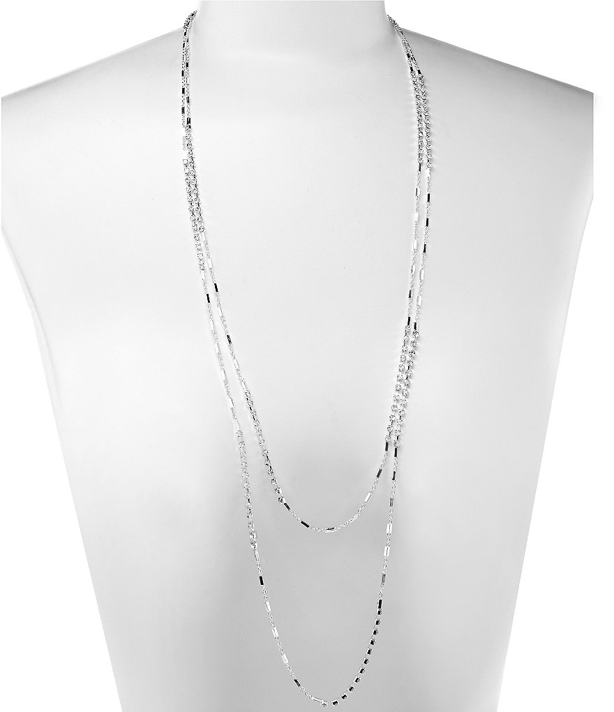 Dillard´s Tailored Long Dot Dash Delicate Layered Rhinestone Necklace