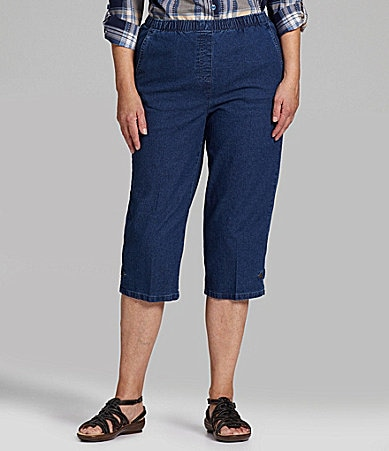 Allison Daley Petites Stretch-Denim Pull-On Capri Pants