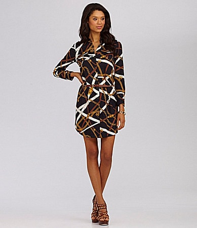 MICHAEL Michael Kors Belted Chain-Print Shirtdress